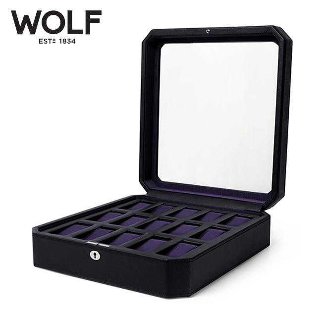 [울프 WOLF] 458503 / 시계보관함 15구 Windsor 15pc Watch Box Blk/Pur 타임메카