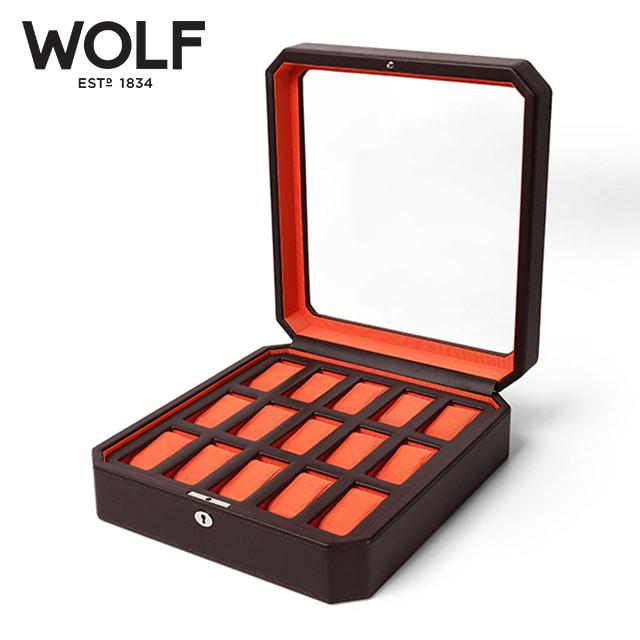 [울프 WOLF] 458506 / 시계보관함 15구 Windsor 15pc Watch Box Brw/Org 타임메카