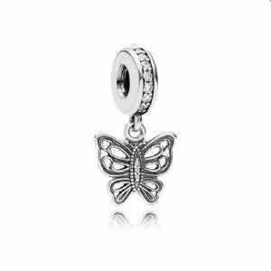 [판도라 PANDORA] 여성 판도라 댕글 참 791255CZ 빈티지 나비 댕글참