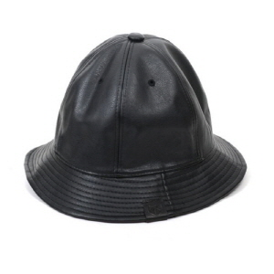 [플레이플러스 PLAYPLUS] leather label crusher hat black