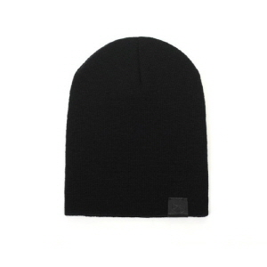 [플레이플러스 PLAYPLUS] leather label long beanie black
