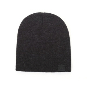 [플레이플러스 PLAYPLUS] leather label long beanie charcoal