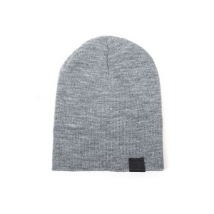[플레이플러스 PLAYPLUS] leather label short beanie gray